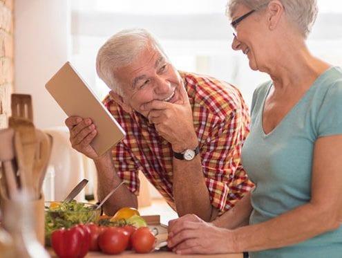 senior citizens deciding on a healthy meal